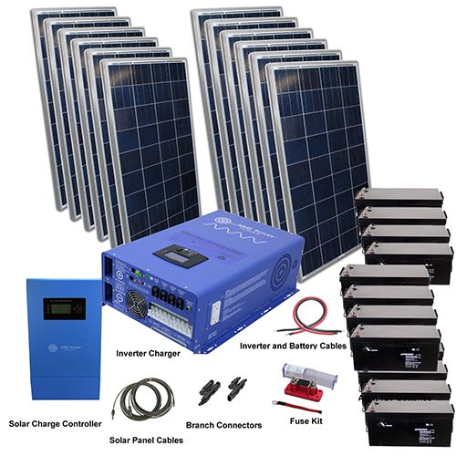 2880 Watt Off Grid Solar Kit With Solar Rack And 12000 Watt Power Inverter Charger 120 240 48 Volt