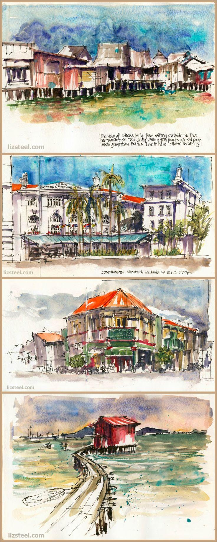 Urban Sketchers -- Liz Steel: Sketching in Penang