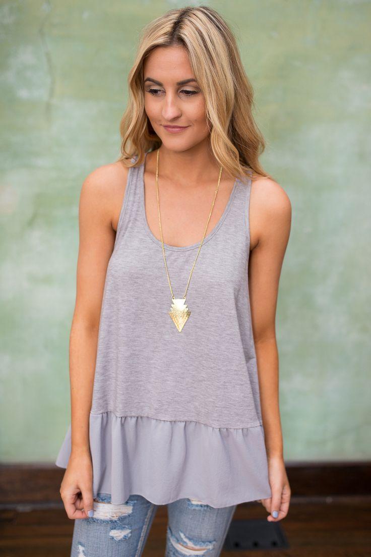 Sleeveless Ruffle Hem Top - Heather Grey - Magnolia Boutique