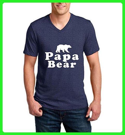 Ugo Papa Bear Matches w Mama Bear & Baby Bear Matching Couples Gift Match w Hats Ringspun Men V-Neck T-Shirt - Animal shirts (*Amazon Partner-Link)