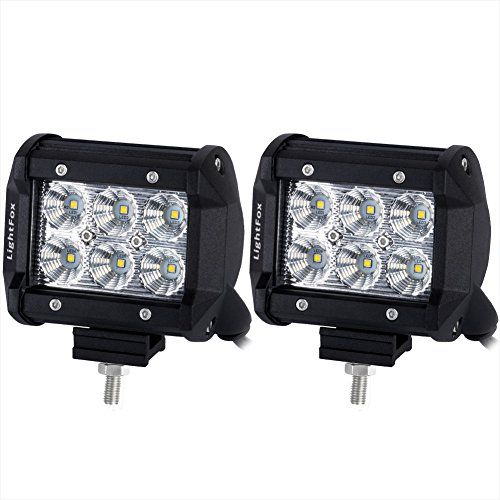 Lightfox 2Pcs 4Inch 18W Flood Cree LED Light Bar Offroad Pods Lights 4wd LED Driving Lamp Work Light Bulb Fog Lights for Truck Pickup Jeep SUV ATV UTV Waterproof, 2 Years Warranty. For product info go to:  https://www.caraccessoriesonlinemarket.com/lightfox-2pcs-4inch-18w-flood-cree-led-light-bar-offroad-pods-lights-4wd-led-driving-lamp-work-light-bulb-fog-lights-for-truck-pickup-jeep-suv-atv-utv-waterproof-2-years-warranty/