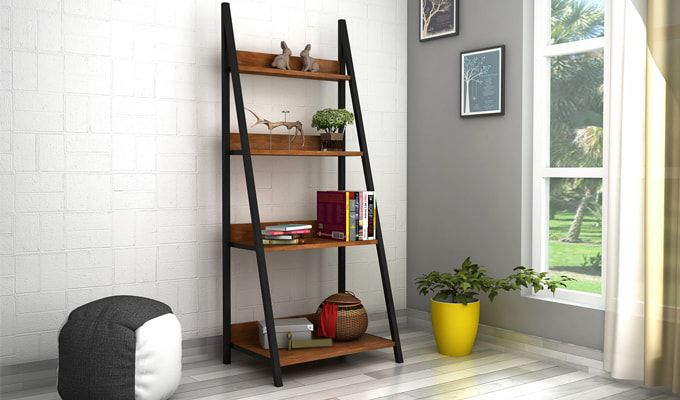 The Tarim Loft Slop #bookshelf is perfect to enhance the beauty of the corners and the slop design looks really trendy. Buy wooden bookshelves online from the alluring range at #WoodenSpace