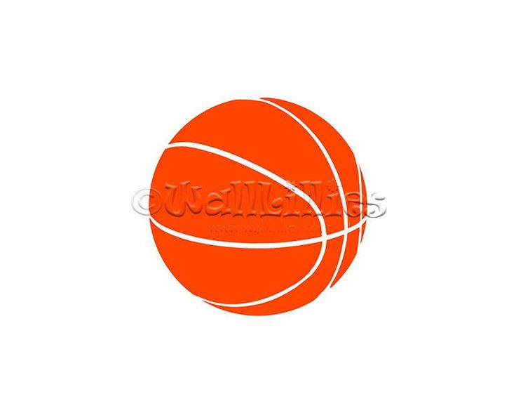 Basketball Decal -  orange wall decal, basketball and other sports wall stickers for kids, girls, boys, teens, and adults in over 50 colors for children's room, boy's room, girl's room, playroom, game room. recreation room and other areas of the home. Wall decals can be an affordable way to decorate your home!