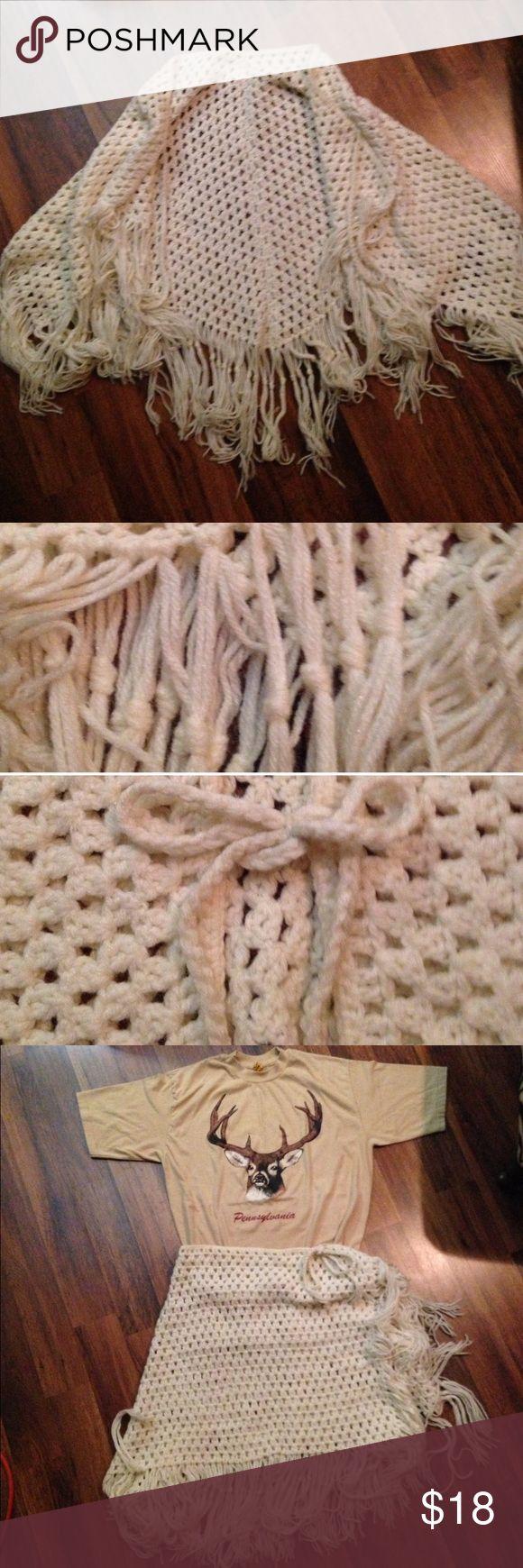 "Vintage Crochet Fringe Cape Vintage Crochet Cape. Knotted fringe. Braided front tie. Soft. 22"" x 40"". Cream color. Fringe 8 1/2"" long. Vintage Jackets & Coats Capes"