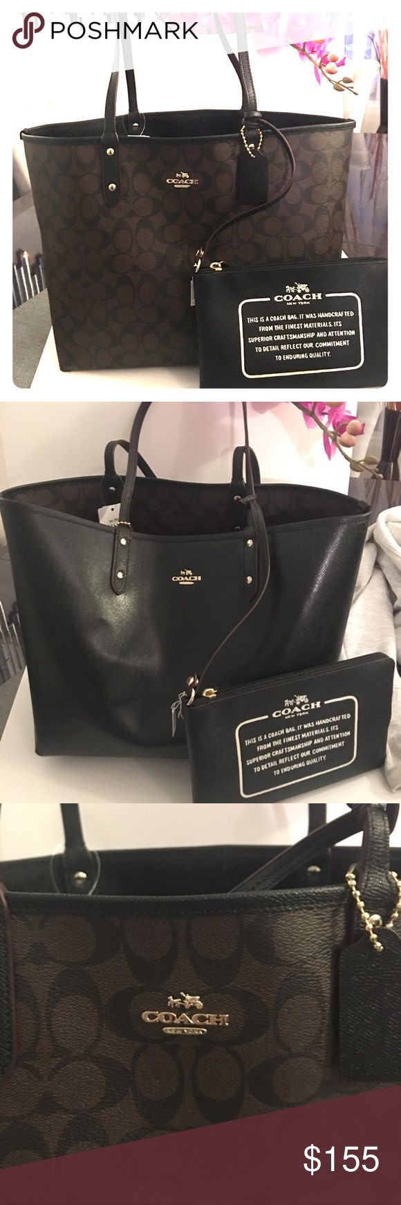 "Coach Signature Reversible Tote Lovely design, very cool colors 2 bag in one ☝️ %100 Authentic. great christmas gift  comes with box.Brend new with tag. Handles drop 10"". 18"" top, 12,5"" bottom,11,5""(H)*6""(W). Coach Bags Totes"