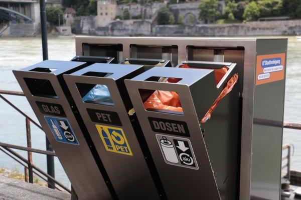 Recyclingstation, Basel, Wertstofftrenner, Wertstoffbehälter, Abfallbehälter, Mülltrenner
