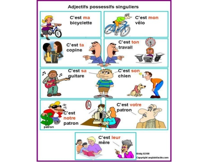 Para practicar los adjetivos posesivos (1): Spanish Learning, Learning French, French Resources, French Learning