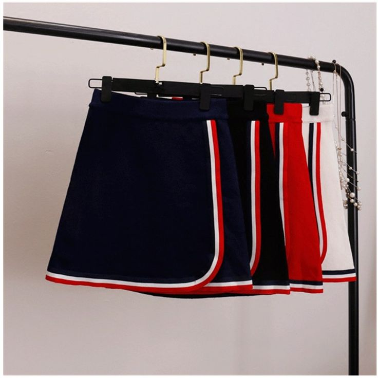 2016 осень и зима была тонкая юбка талии полосатый вязать окантовка бейсбол шерсть юбка Мода Женщин Юбки купить на AliExpress