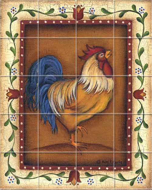 Gold Rooster Kitchen Backsplash Tile Murals