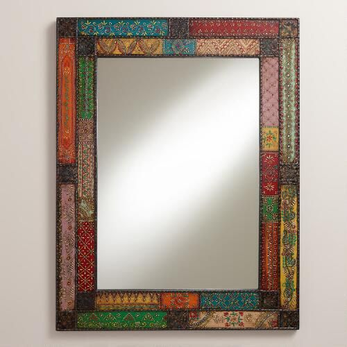 Brighten your interior with the eclectic flair of our exclusive Patchwork Kavana Mirror. Gorgeously hand painted in India, it's crafted of metal panels decorated with traditional designs in an array of vibrant hues.