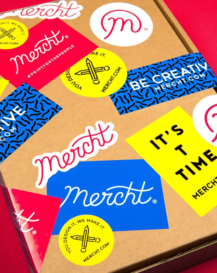 Brand identity and stickers for uk based custom merchandise business mercht by robot food