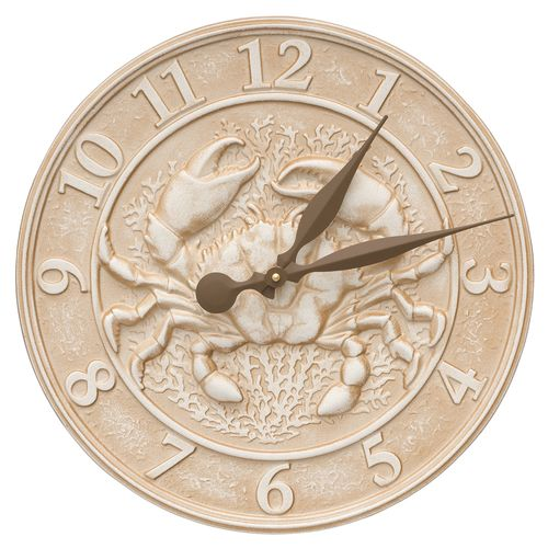 """The coastal style of the Weathered Limestone finished 16"""" Crab Sealife Clock will add a beach cottage touch to your inside or outdoor living space."""