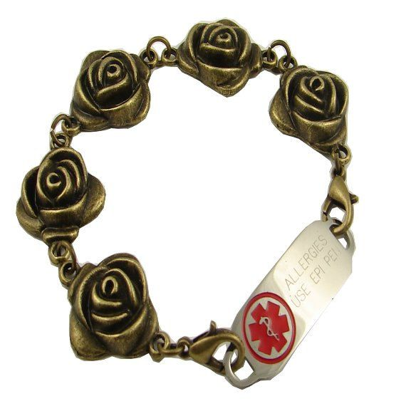 Bronze Roses Medical Bracelet Free Engraving 7 by StylishMedicalID Stylish Medical ID offers this exclusive bronze toned rose designed medical ID bracelet. Your bracelet will include bronze toned beads, connectors, and trigger clasps. The rose design is imprinted on one size only, the back is concave.  https://www.etsy.com/listing/195748359/bronze-roses-medical-bracelet-free?ref=shop_home_active_22     www.stylishmedicalid.com