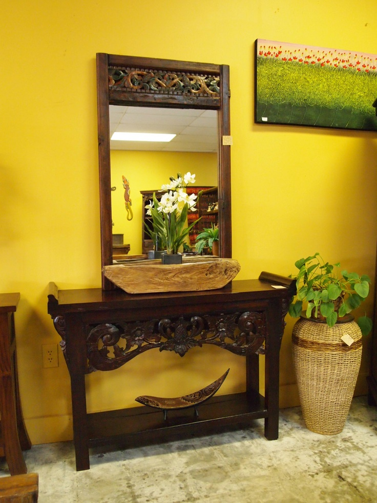 Indonesian carved console table and carved mirror from for Bali home decorations wholesale