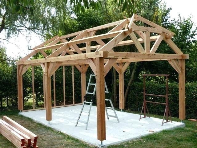 Build Wood Carport Built Timber Frame Carport Garage Cost To Build Wood Carport Timber Frame Construction Timber Frame Garden Gazebo
