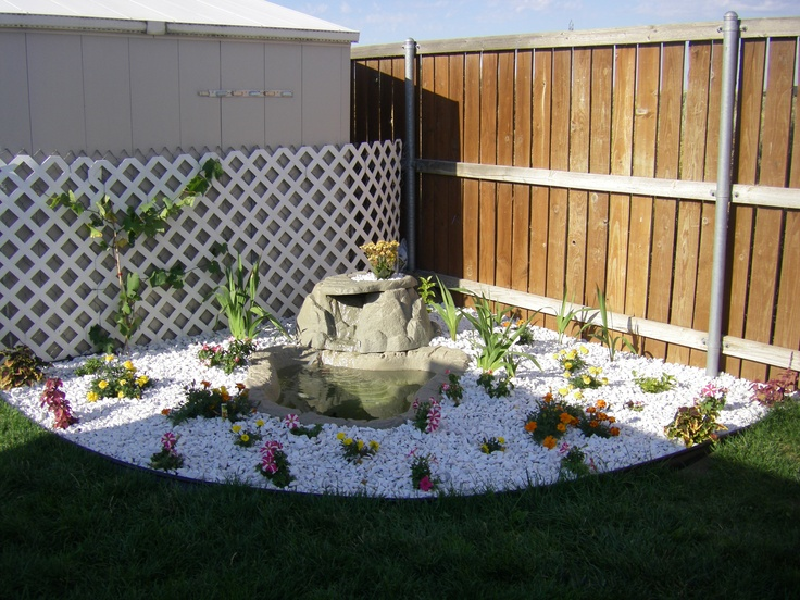 Elegant Adding Color To The Back Corner Of The Yard, Got This Waterfall At A Yard  Sale, Already Had A Pump, Bought White Rocks, Plants, Flowers, And A Grapu2026