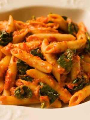 Chef Michael Smith's Penne with red Pepper Sauce and Spinach