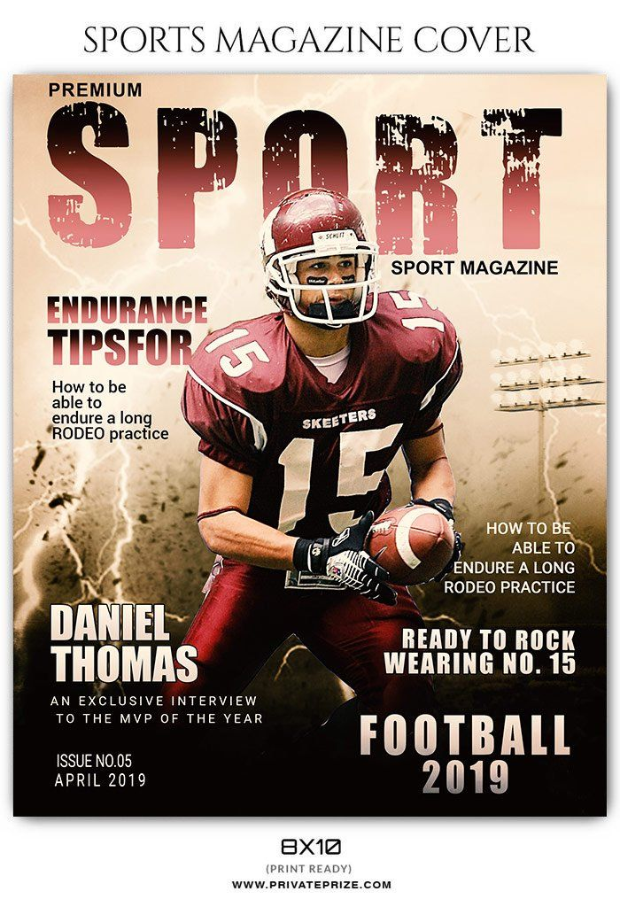 Football Sports Photography Magazine Cover Templates Magazine Cover Template Sports Magazine Covers Sports Magazine