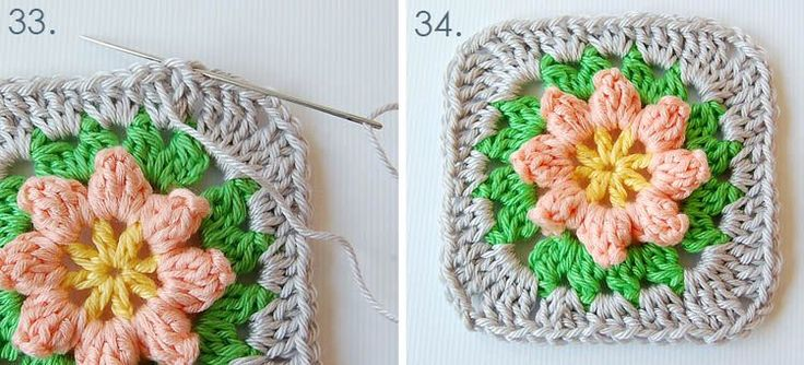 Granny square free pattern and step by step tutorial 17