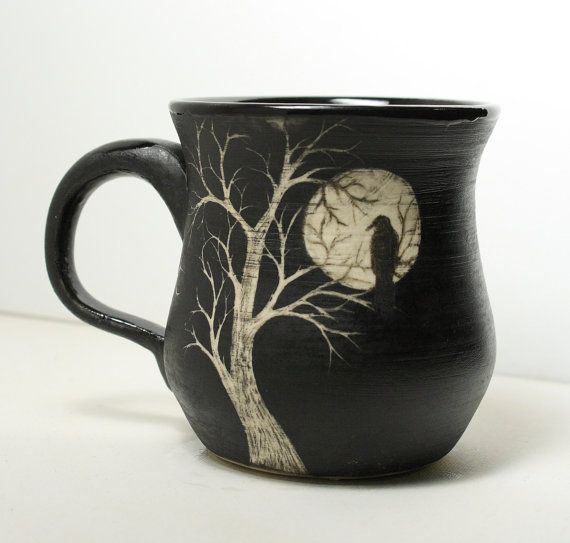 My coffee in that mug now please! Moon Raven Etsy | Large Porcelain Sgraffito Moon Raven Tree Mug by TheMuddyRaven, $39.00