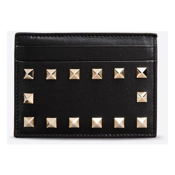 Valentino Garavani Rockstud Card Holder (3 340 ZAR) ❤ liked on Polyvore featuring bags, wallets, black, logo bags, card case wallet, card carrier wallet, valentino wallet and credit card holder wallet