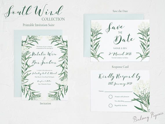 South W/ind Printable Wedding Invitation Suite on Etsy.  #etsy #weddingstationery #invitation #weddinginvitation #wedding #illustration #stationery #papergoods #eventstationery #birdsongpaperie #weddingplanning #printableinvite #weddinginvite