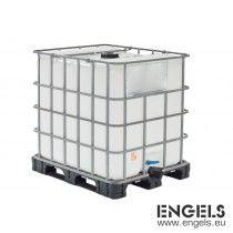 Kunststof IBC-container 1200x1000x1170 mm, 1055 ltr, op pallet, wit