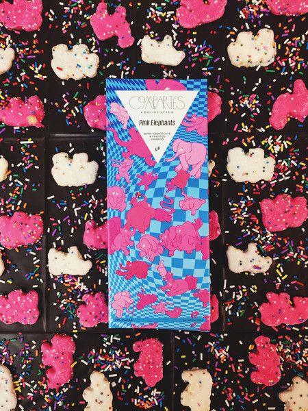 Animal Cookies Dark Chocolate Bar Pink Elephants – Compartes Chocolatier Gourmet Chocolate
