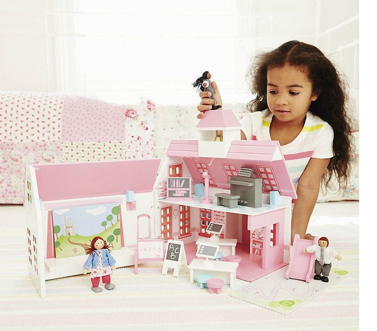 ELC Rosebud Village School & Dolls, Wooden Pink and White Kids Girls Toy Playset | eBay