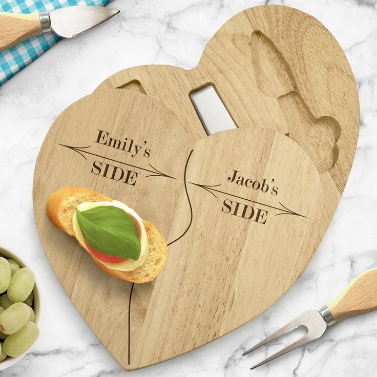 The Kitchen Gift Company - Personalised Wooden Heart Cheese Board Set , £19.95 (http://www.thekitchengiftco.com/personalised-wooden-heart-cheese-board-set/)