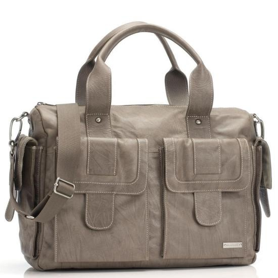Storksak Sofia Leather Nappy Bag - Taupe