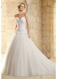 Ball-Gown Strapless Sweetheart Court Train Tulle Wedding Dress With Beading Appliques Lace
