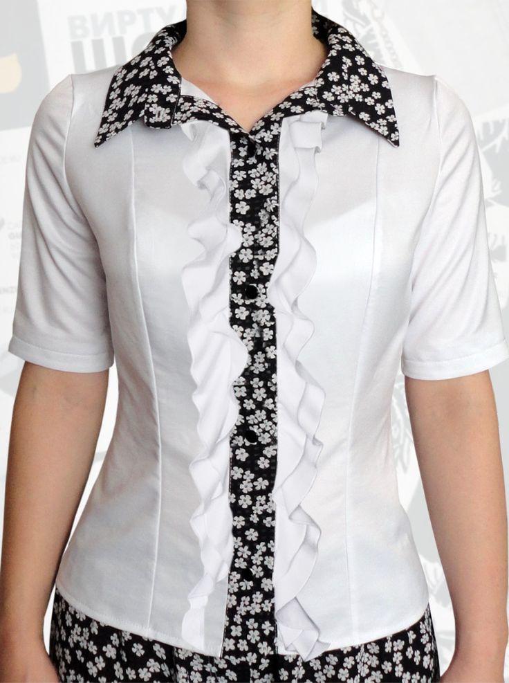 34$ Классическая белая блузка для полных девушек с короткими рукавами, рюшами в два ряда, вставкой-планкой и воротником в маленькие белые ромашки Артикул 807, р50-64 Белые блузки большие размеры Деловые блузки большие размеры Офисные блузки большие размеры  Блузки классические большие размеры Блузки дизайнерские большие размеры  Блузки с коротим рукавом большие размеры