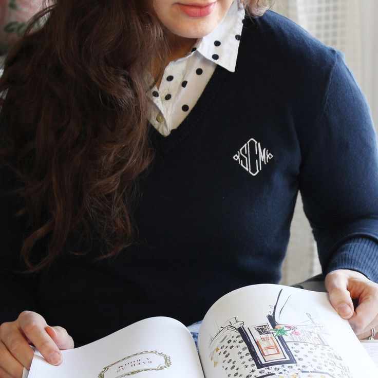 Knit V-Neck Sweater, loving this monogram detail