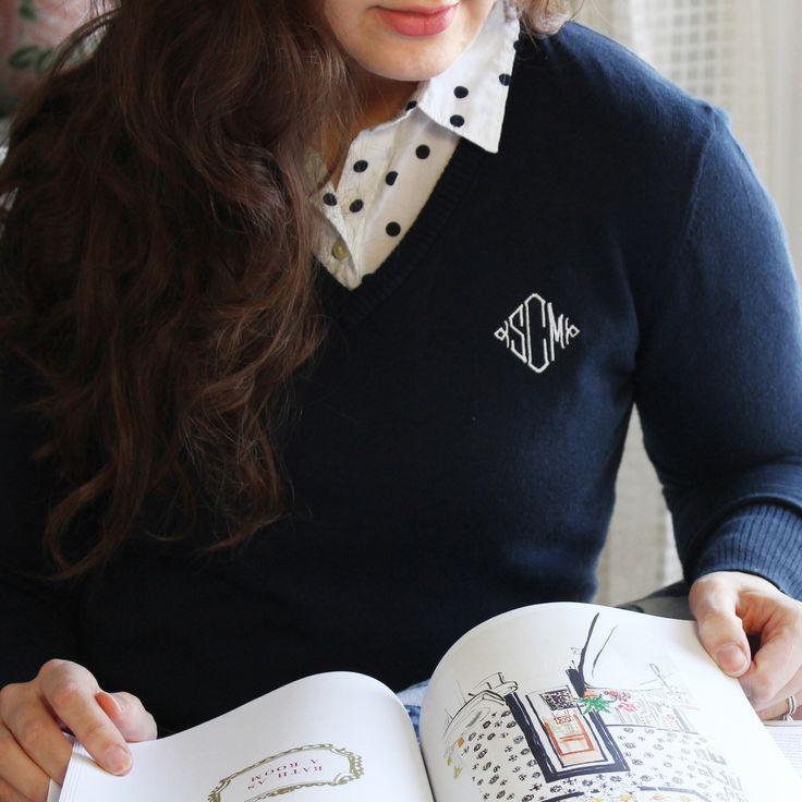 Knit V-Neck Sweater, loving this monogram detail