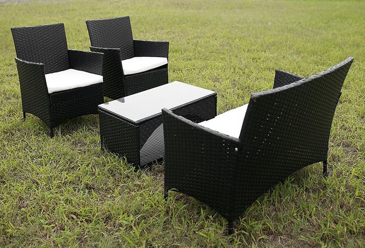 Get this Merax 4-PC Outdoor PE Rattan Wicker Sofa Set, which is a black wicker furniture patio sofa and conversation set perfect for your deck, porch, or patio.