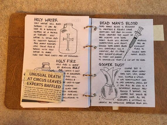 John Winchester's Journal Pages ONLY by PoisonousFrog on Etsy