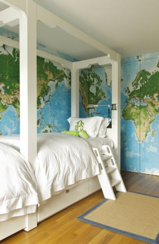 Love The White Furniture Contrast With The Colorful Maps In A Kids Bedroom Or Playroom