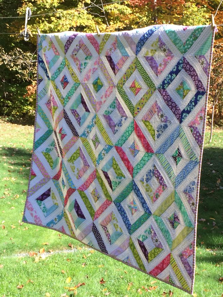 Jelly Roll - Summer in the Park revamped quilt. Pattern from the Missouri Star Quilt Co. YouTube tutorials.