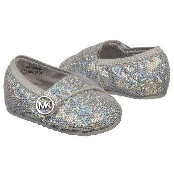 Kids MICHAEL MICHAEL KORS ' Baby Grace Glitter Flat Infant Silver Metallic Shoes.com