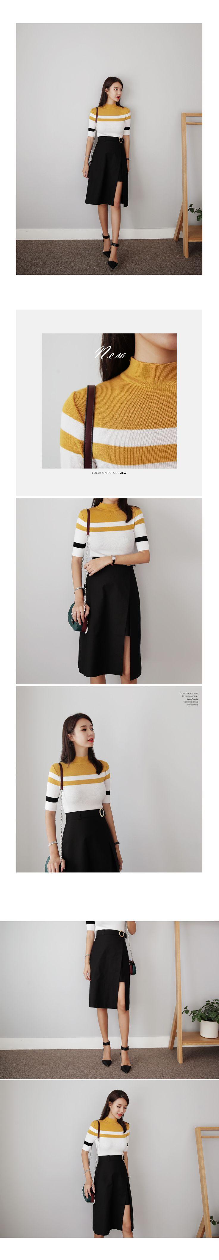 リングベルトスリットAラインスカート・全2色