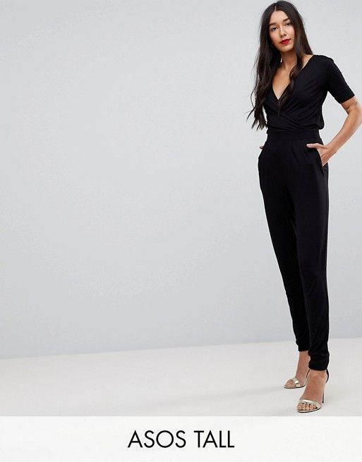 ab4db45b0511 DESIGN Tall wrap front jersey jumpsuit with short sleeve