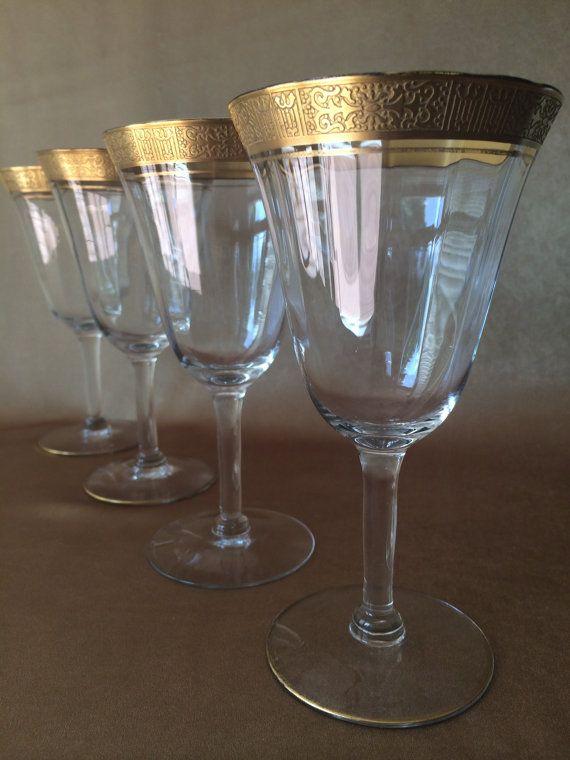 Gold Trim Wine Glass Tiffin Franciscan Tiffin Minton