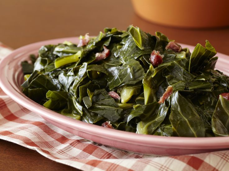 """Collard Greens from Paula Deen.  I made this tonight but modified the recipe a little, using Louisiana Cajun Spice instead of the """"house seasoning"""".  Really tasty."""