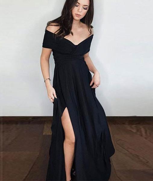 Simple black off shoulder prom dress 1a9df0f13