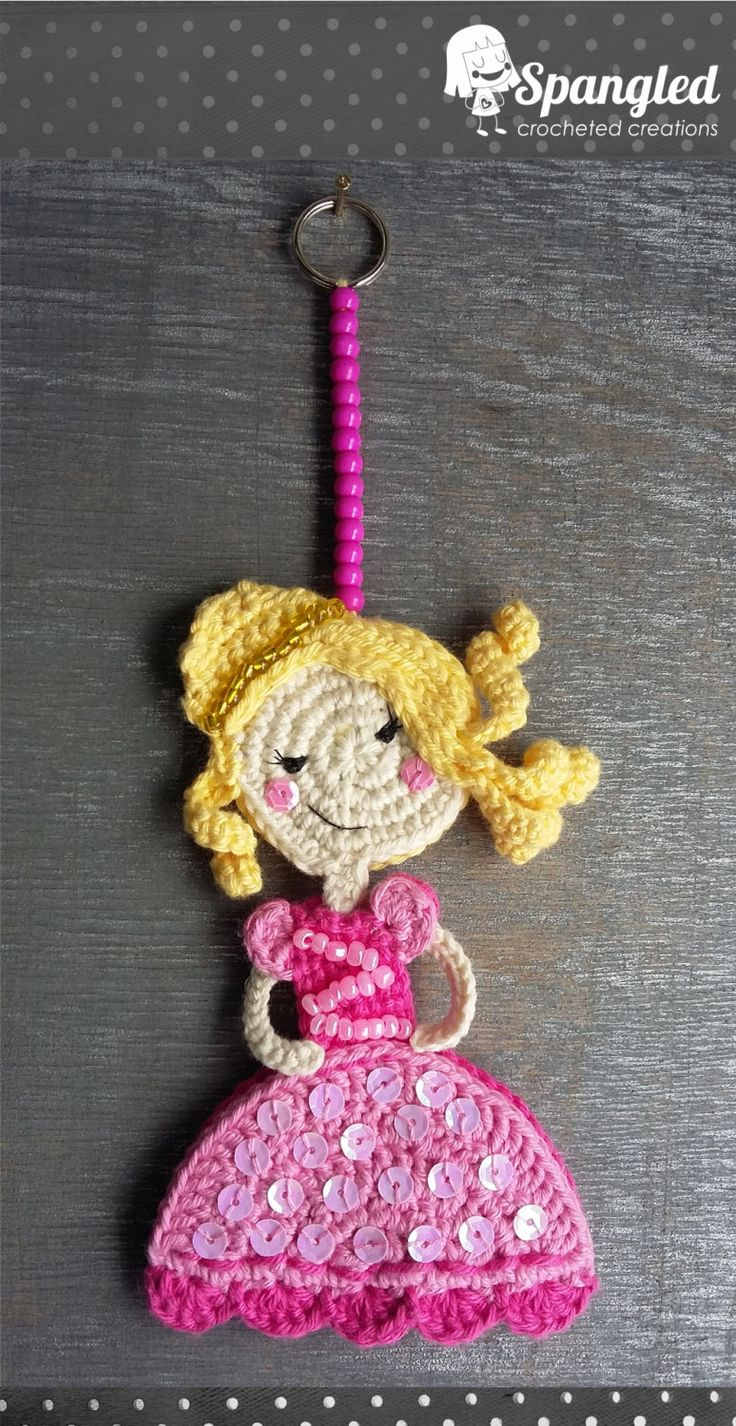 Princess Crocheted Keychain by SpangledCrochet on Etsy