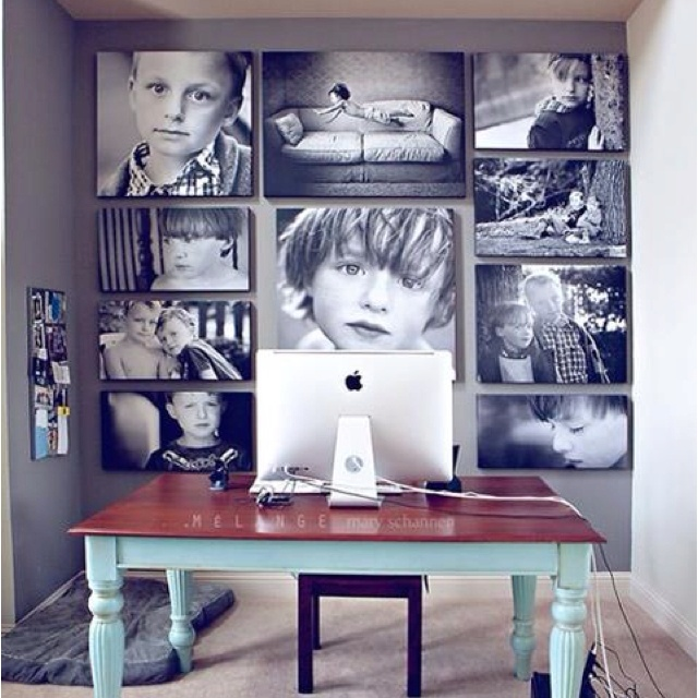 Photo wall - found via modern parents messy kids & originally from http://melangephotographyblog.com/my-office-wall/
