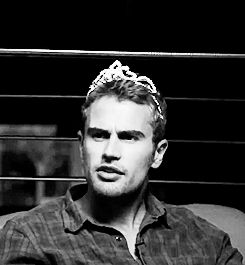 "Theo James in a tiara, ladies and gentlemen  29 Extremely Important Reasons To Go See ""Divergent"" (a.k.a ""Theo James Is in It x29"")"
