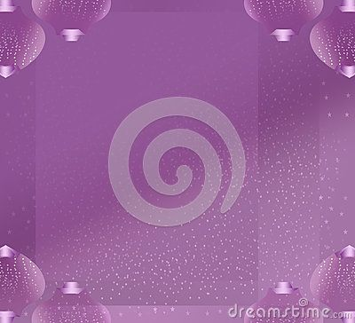 Purple #background full of stars making #snow effect and with #Christmas #globes border