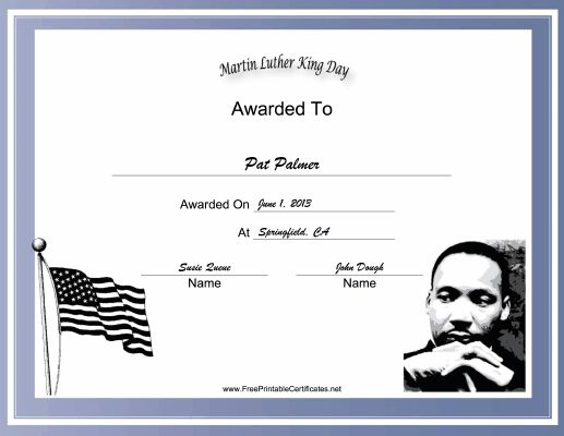 The American flag and a picture of Martin Luther King Jr. decorate this free, printable, holiday certificate for MLK Day. Free to download and print